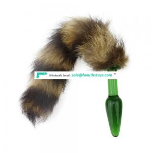 Factory Direct Sale Fast Selling Amazon Crystal Glass Fox Tail Anal Plug Dog Tail Sex Toys