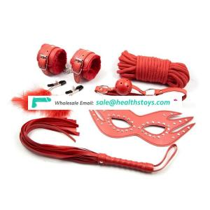 Hot selling sex products red sexy accessory kit 6 pcs/set nipple clamp whip rope eye mask mouth gag handcuffs bondage set