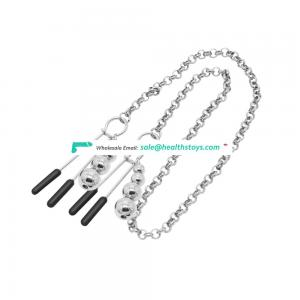 Nipple & Clict Clamp With Stainless Metal Chains Love Game Sexy Toys For Couple
