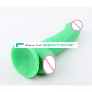 Popular 8.5in green color phthalate free seamless silicone strap on compatible realistic artificial dildo adult sex toys