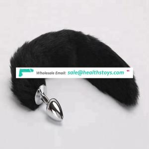 Popular Style Artificial Fox Tail Metal Anal Plug Adult Product For Boy And Girl