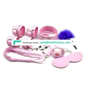Sakura pink full leather bondage sets sexy accessories for young couples sex products