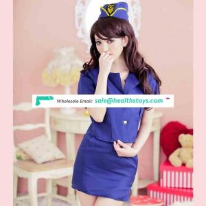 Sexy lady adult stewardess cosplay dress with hat Halloween lady costumes