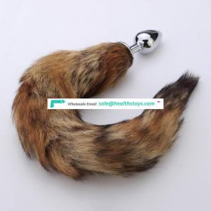 Silicone colorful Fox Tail Anal Plug foxtail butt plug for vagina