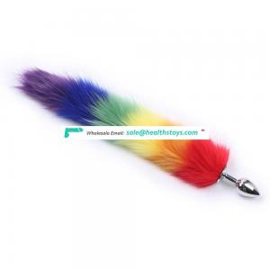 Stainless steel artifical animal 7 colorful tail anal plug sex toys