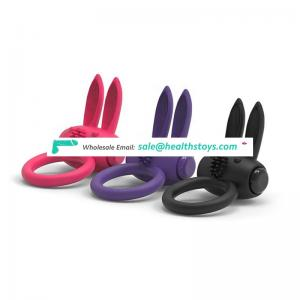 Strong vibration sex toys sexual vibrating rabbit penis cock ring silicone