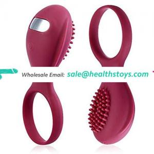 Strong vibration soft silicone rechargeable vibrating clitoris cock ring