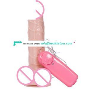 Wholesale Fake vibrating artificial silicone dildo vibrating penis in vagina for women masturbation