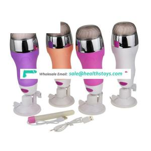 X6 Hands free masturbation cup sound USB Rechargeable vibration Male Sex Toy With Suction Cup
