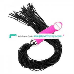 silicone artificial penis dildo vibrator with bondage whip for women